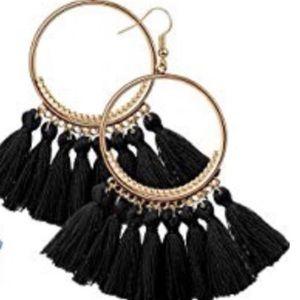 Black Bohemian Tassel Earrings
